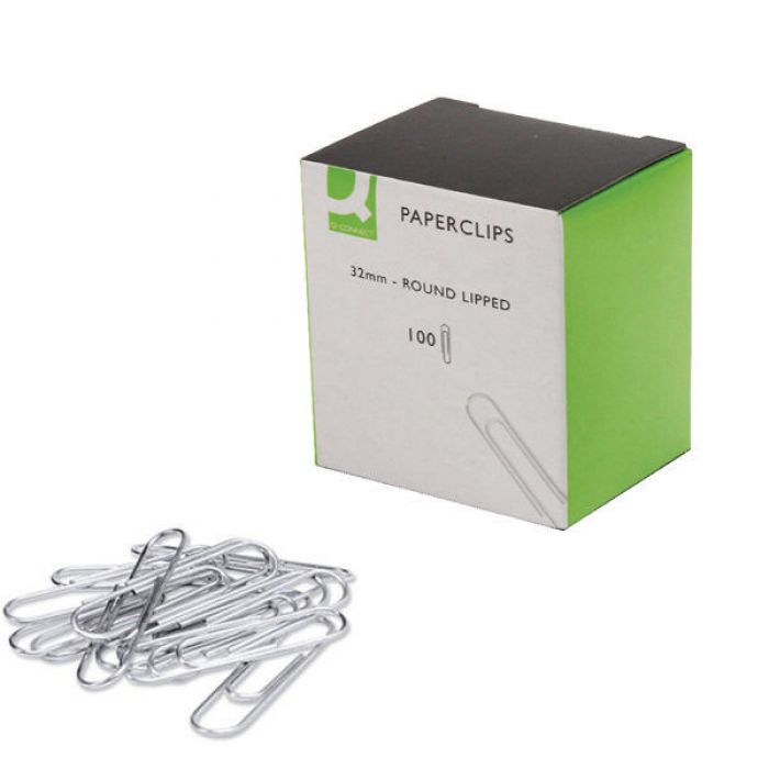 Q-Connect Paperclips 32mm - Lipped