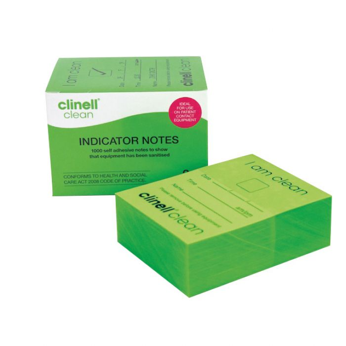Clinell Clean Indicator Notes - Green 'I Am Clean' - 4x250 - (Pack 1000)