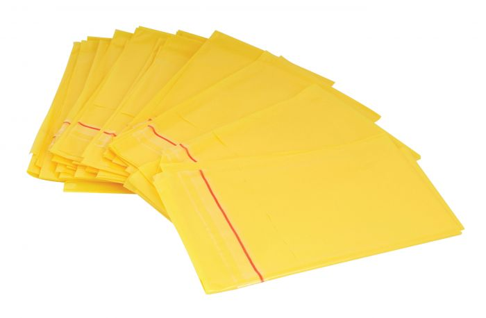 Small Disposal Bags with Adhesive Strip - Yellow - 27cm x 46cm - (Pack 200)